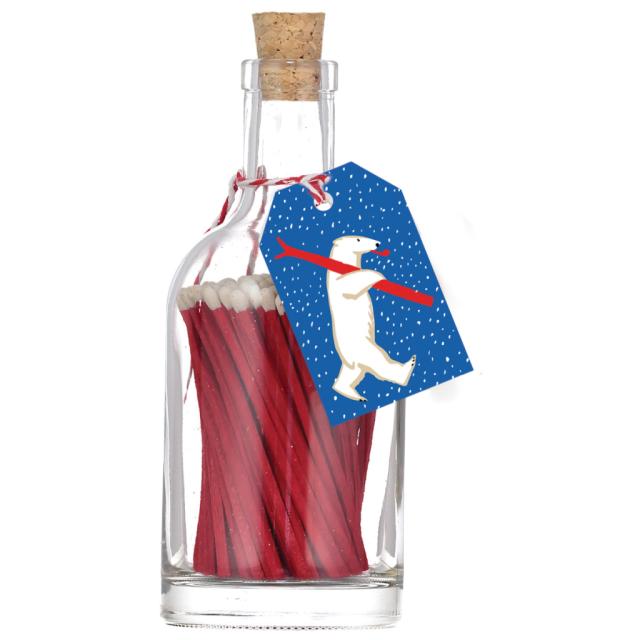 Skiing Polar Bear - Match Bottles - Archivist - from Archivist Gallery