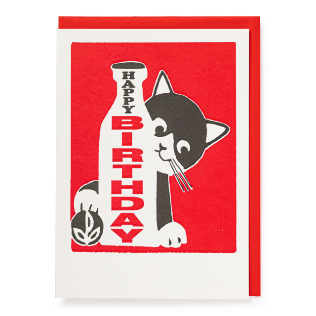 Happy Birthday cat - Letterpress Cards - from Archivist Gallery