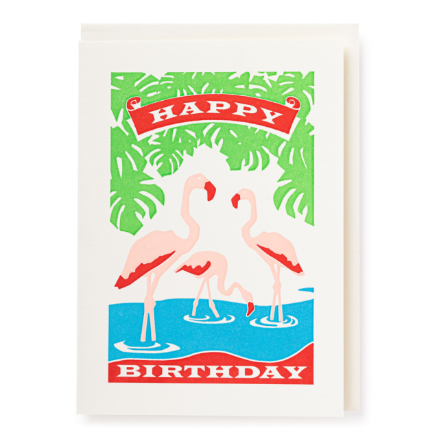 Birthday flamingos - Letterpress Cards - from Archivist Gallery