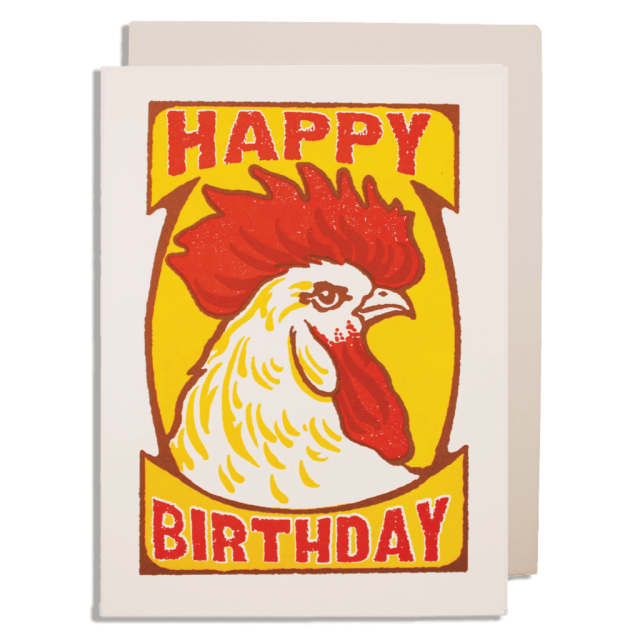 Cockerel Birthday on Yellow