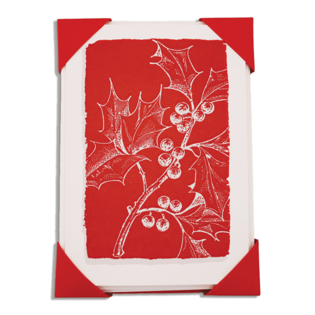 Christmas Holly on Red